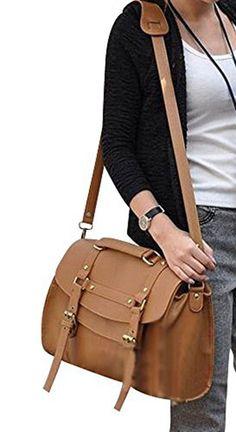 Keral Pu Leather Lady Shoulder Bag Messenger Bag Women Handbag_Brown