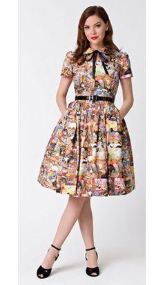 Bernie Dexter 1950s Style Crazy Cat Lady Darlene Swing Dress