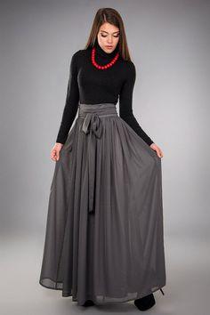 Hey, I found this really awesome Etsy listing at https://www.etsy.com/listing/252388358/grey-chiffon-skirtfolds-maxi-skirtfloor