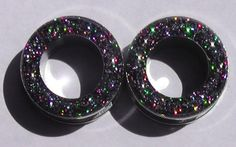 Charcoal Holograpic Sparkle Flesh Screw On Tunnels- Made to Order 2,0, 00 on Etsy, $15.00