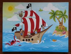 Pirate Ship Painting by Leilasartcorner on Etsy, $120.00