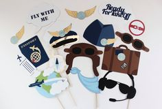 Airplane Pilot Photobooth Props 36 Piece Set by PAPERandPANCAKES