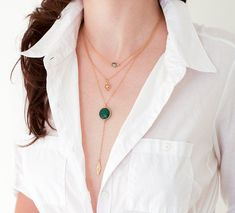 Lariat Necklace Gold Y Necklace Layering Necklace by delezhen