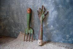 Vintage Garden Tools: Pair of Rustic Garden Hand Tools by Untried