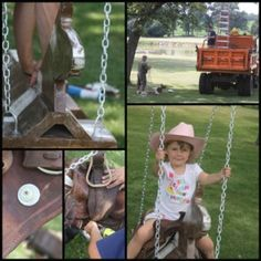 Outdoor Horse And Saddle Swing Saddle Swing, Kids Saddle, Horse Swing, Saddle Rack, Backyard Toys, Backyard For Kids, Westerns, Pony Saddle, Little Cowgirl