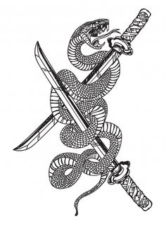 Snake and sword Premium Vector Flash Art Tattoos, Body Art Tattoos, New Tattoos, Small Tattoos, Tattoos For Guys, Japanese Snake Tattoo, Japanese Tattoo Designs, Japanese Sleeve Tattoos, Tattoo Sketches