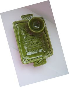 Vintage Retro Cheese Dip Bowl Tray by California USA Pottery - Olive Green - Chip N Dip Bowl - Cheese Dip Recipe - Kitsch - Gift Idea by shabbyshopgirls on Etsy