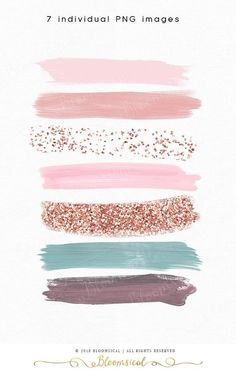 A glam collection of 7 hand painted modern brush strokes featuring a pretty pastel Rose Gold palette of dusk pink, blush, seafoam blue, rose gold colors. Rose Gold Color Palette, Gold Color Palettes, Gold Color Scheme, Gold Palette, Color Schemes, Fond Design, Web Design, Rose Gold Brushes, Glitter Confetti