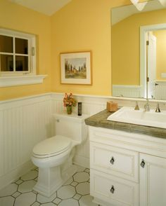 yellow and grey bathroom, this is the bathroom just swap colors, Hause ideen