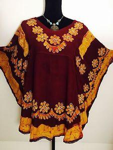Women Floral Embroidered Rayon Boho Tunic Dress Kurti Top Maroon Gold Free Size | eBay