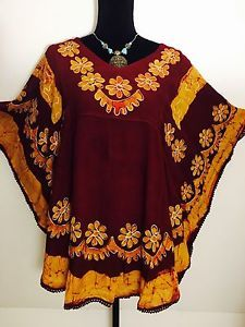 Women Floral Embroidered Rayon Boho Tunic Dress Kurti Top Maroon Gold Free Size   eBay