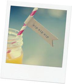 Printable sip sip sip Straw or Cupcake Flags  15 by postscripts, $1.99