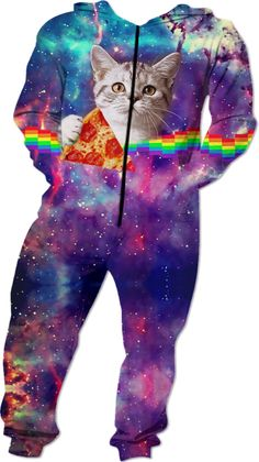 """Pizza Cat Onesie - """"What's better than cats and pizza?—Cats with pizza over the rainbow in space! Original design by BigTexFunkadelic™. Pizza Cat, Over The Rainbow, Onesies, Space, Cats, Fictional Characters, Design, Floor Space, Gatos"""