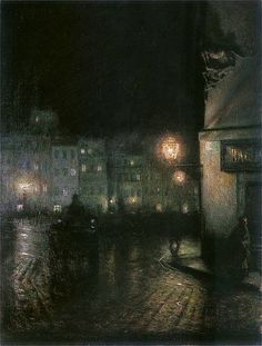 Market Square of Warsaw by Night, wonderfully atmospheric scene in oils by Jozef Pankiewicz, 1866-1940, Polish painter and graphic artist