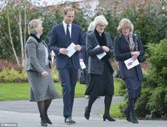 Prince William arrived at the service at Parndon Wood Cemetery accompanied by his late mother's sisters Lady Jane Fellowes (right, next to William) and Lady Sarah McCorquodale (far right)