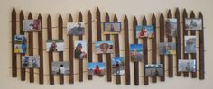 This is a neat way to display photos from a day by the shoer. I would add a few seashells, sand dollars, or starfish as accents.