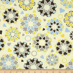 Wishing Well Secret Hearts Yellow from @fabricdotcom  Designed by Jenean Morrison for Westminster Fabrics, this fabric is perfect for quilting, apparel and home décor accents. Colors include grey, charcoal, blue, and yellow on a pale yellow background.