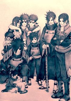 Uchiha clan males. (look at little Sasuke, so cute~)