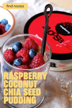 In a bowl, thoroughly mix ½ cup of raspberry noosa yogurt, ½ cup of coconut cream, 2 teaspoons of sugar, ¼ teaspoon vanilla extract and 2 tablespoons of chia seeds.Refrigerate the mixture for a minimum of 4 hours and up to 2 days. For added crunch, toast coconut flakes in the oven at 325 degrees for 6 minutes. When ready to serve, layer chia seed pudding with fresh berries and toasted coconut flakes into 2 small bowls or glasses. Thanks @uprootkitchen for the inspiration! Breakfast Recipes, Snack Recipes, Cooking Recipes, California Pizza Kitchen, Noosa Yogurt, Coconut Chia Seed Pudding, Smoothies, Healthy Snacks, Healthy Recipes
