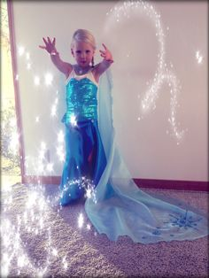 'Elsa' outfit from Frozen, gave up trying to find one & made my own! So pleased with it :-)