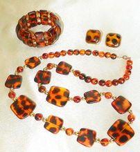 Vintage Lucite Faux Tortoise Shell Necklace Bracelet Earrings