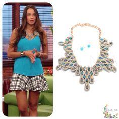 Collar de Laura Acuña en Muy Buenos Dias de RCN' con Accesorios de Oparina. #oparina  #tvhost #model #tvshow #statementnecklace  #madewithstudio