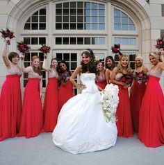 Red Bridesmaids Dresses ~ Photo: Select Studios