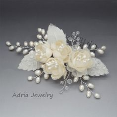 Flower Bridal Hair Pieces Ivory Wedding Hair Flowers, Freshwater Pearls Hair Comb, Pure Silk Flowers Wedding Headpieces for Brides 15122104