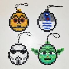 Star Wars Christmas Ornaments. C3PO, R2D2, Stormtrooper, Yoda. Hama beads.