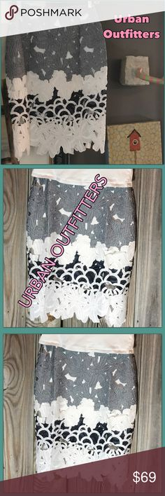 """⭐️Wow absolutely Fab Mini/Midi rugged stunning JOA ⭐️ Urban Outfitters J.O.A Rugged Classy Mini Maxi. Absolutely fabulous texture, wholly, lace mini. This skirt has side zip and eye hook clasp. Outer top layer skirt is 23""""-24"""", interior skirt is soft and stretchy length 14.5"""", waist flat 13"""" flat. What a fabulous skirt put it with a fitted T-shirt and hit the town. ♥️ Top seller, fast shipping,Posh ambassador.  📍 Check out the rest of my closet for awesome stuff and get bundle pricing…"""