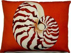 Chambered Nautilus Indoor Outdoor Pillow: Beach Decor, Coastal Home Decor, Nautical Decor, Tropical Island Decor & Beach Cottage Furnishings