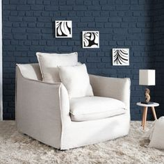 Armchair, Home And Living, White Wood, Home Living Room, Furniture, Home Decor Decals, Home, Home Decor, Room