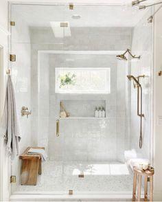 Bathroom Goals, Bathroom Inspo, Bathroom Inspiration, Beige Bathroom, Bathroom Renos, Marble Tile Bathroom, White Master Bathroom, Tiling, Dream Shower