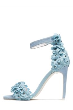 Jeffrey Campbell Shoes MERYL-FLR Oh So Hottt! in Pale Blue Suede Combo