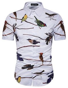 zemtoo Hawaii Shirt Men Shirt Short Sleeve Casual Shirt Cotton Flowers And Birds Printed Shirt Summer Style Homme Slim Fit. Mens Shirts Brands, Cheap Mens Shirts, Mens Shirts Online, Cool Shirts, Casual Shirts, Style Casual, Men Casual, Smart Casual, Mens Beach Shirts