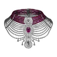 High Jewelry necklace Reine Makéda necklace -platinum, one 15.29-carat oval-shaped ruby from Mozambique, one 3.51-carat D IF round-shaped rose-cut diamond, one 5.10-carat E VS2 pear-shaped rose-cut diamond, cabochon-cut and faceted ruby beads, pear-shaped rose-cut diamonds, calibrated diamonds, brilliant-cut diamonds. The ruby chocker and the diamond necklace can be worn separately.