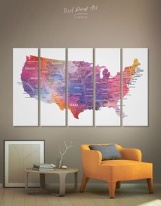 5 Panels USA Map Watercolor Wall Art Canvas Print  Push pin map is a perfect decor for a person who loves to travel ✈ This map creates a motivating mood and gives the desire to explore the world! 🌏 Several variations are possible: framed map, one panel or 3,4,5 panels!🌞 Which one is better? 🥰  #USA #Travelpushpinmap #travelworldmap #modernart #map #mapcanvas #canvas #wallart #canvasworldmap #HandmadeMap #wallartmap #wallcanvas #interiordecor #homeinteriordecor #decor #WallDecoration Map Canvas, Canvas Wall Art, Canvas Prints, Usa Travel Map, Water Color World Map, Watercolor Walls, Framed Maps, Office Wall Decor, Modern Art