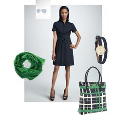 Navy with Kelly Green Accessories, created by #susan-dutchman-filoramo on #polyvore. #fashion #style Elie Tahari Kate Spade