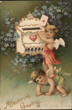 Valentine cherubs wish forget-me-not Valentine Images, Vintage Valentine Cards, My Funny Valentine, Vintage Greeting Cards, Vintage Holiday, Valentine Crafts, Valentine Day Cards, Vintage Postcards, Valentines Greetings