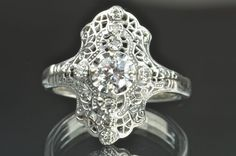 1920's - 1930's 14K white Gold .55 Carat Diamond Ring, $1500.00