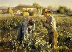 Elin Kleopatra Danielson-Gambogi (Finnish painter, 1861-1919) In the Vineyard 1898