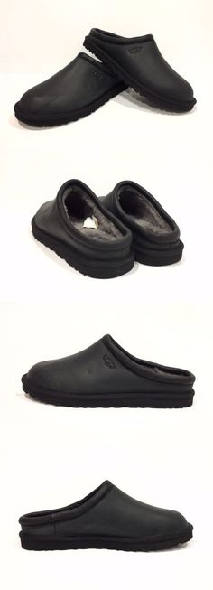3dbe5a52e8fba Slippers 11505  Ugg Classic Clog Men S Slippers Black Leather Sheepskin -Us  Size 11 -  BUY IT NOW ONLY   74.9 on eBay!