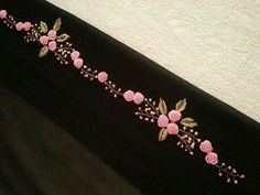 Wonderful Ribbon Embroidery Flowers by Hand Ideas. Enchanting Ribbon Embroidery Flowers by Hand Ideas. Kurti Embroidery Design, Hand Work Embroidery, Embroidery Flowers Pattern, Embroidery Fashion, Silk Ribbon Embroidery, Crewel Embroidery, Hand Embroidery Designs, Cross Stitch Embroidery, Embroidery Patterns