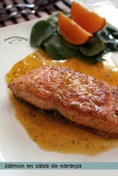 Salmón en salsa de naranja. Macumani Salmon Recipes, Veggie Recipes, Fish Recipes, Seafood Recipes, Mexican Food Recipes, Cooking Recipes, Healthy Recepies, Healthy Dinner Recipes, A Food