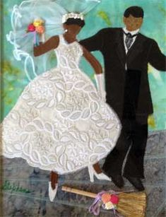 """The Jump"" quilt art by Phyllis Stephens, wedding, marriage, African-American art"