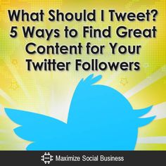 Google Alerts, RSS Feeds, Twitter Search Engines (Topsy), Twitter Lists, and StumbleUpon are 5 great sources of content to tweet to your Twitter followers.