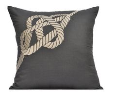 Nautical Pillow Cover Cream Rope on Gray Pillow by KainKain, $24.00