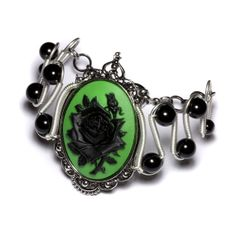 Steamgoth Bracelet - SilverTone - Green and Black Rose Cameo with onyx Steampunk Accessories, Jewelry Accessories, Gothic Jewelry, Unique Jewelry, Steampunk Cosplay, Purple And Black, Jewelry Rings, Jewels, Gemstones