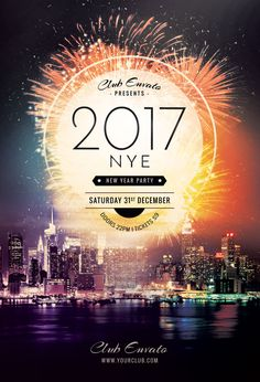 40 best New Year Flyer Design images on Pinterest   Flyer design     New Year Flyer Template by styleWish  Luminous New Year poster with a  powerful firework
