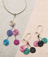 Cascading Spirals Pendant  and Earring Set - Interweave